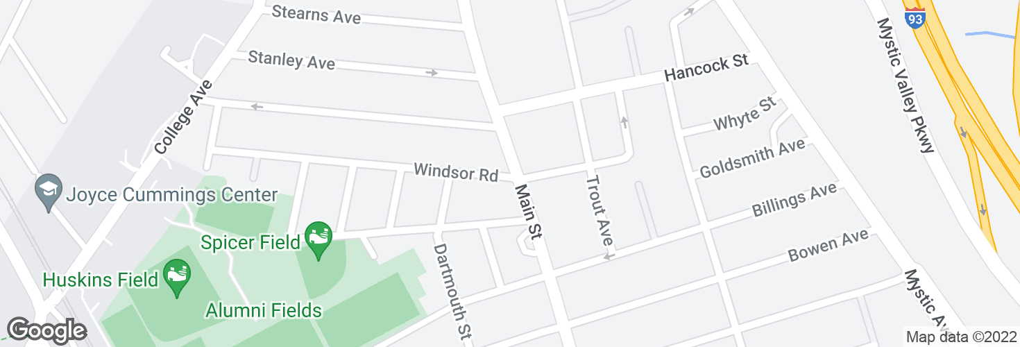 Map of Main St @ Windsor Rd and surrounding area