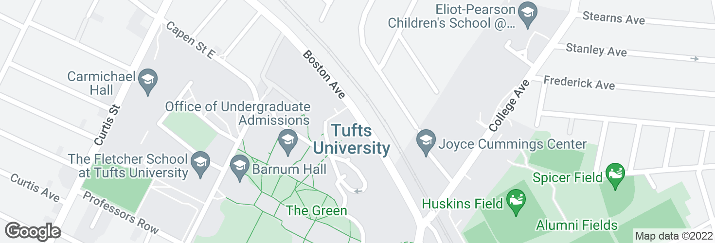 Map of Boston Ave @ Tufts Garage and surrounding area