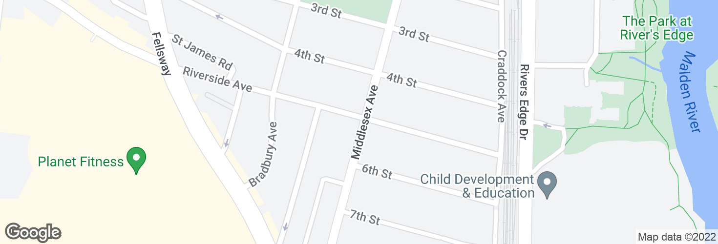 Map of Riverside Ave @ Middlesex Ave and surrounding area