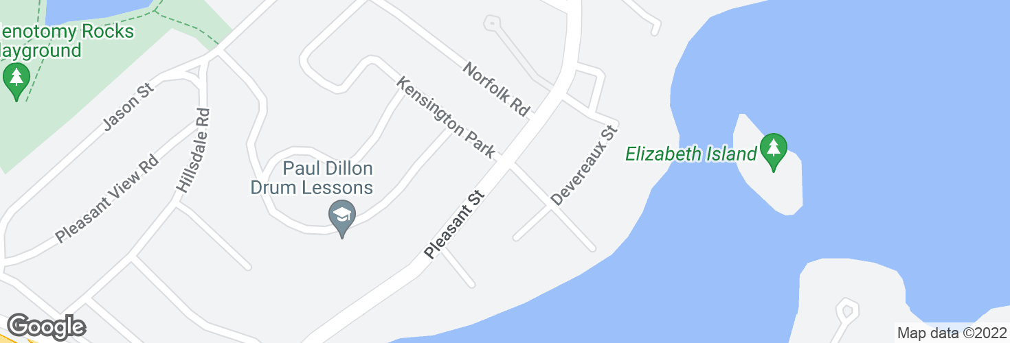 Map of Pleasant St @ Gould Rd and surrounding area