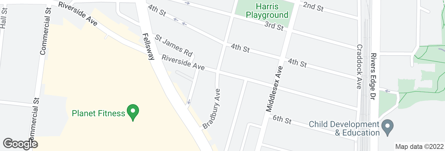 Map of Riverside Ave @ Bradbury Ave and surrounding area
