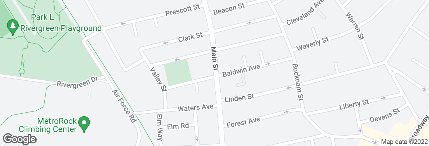 Map of Main St @ Baldwin Ave and surrounding area