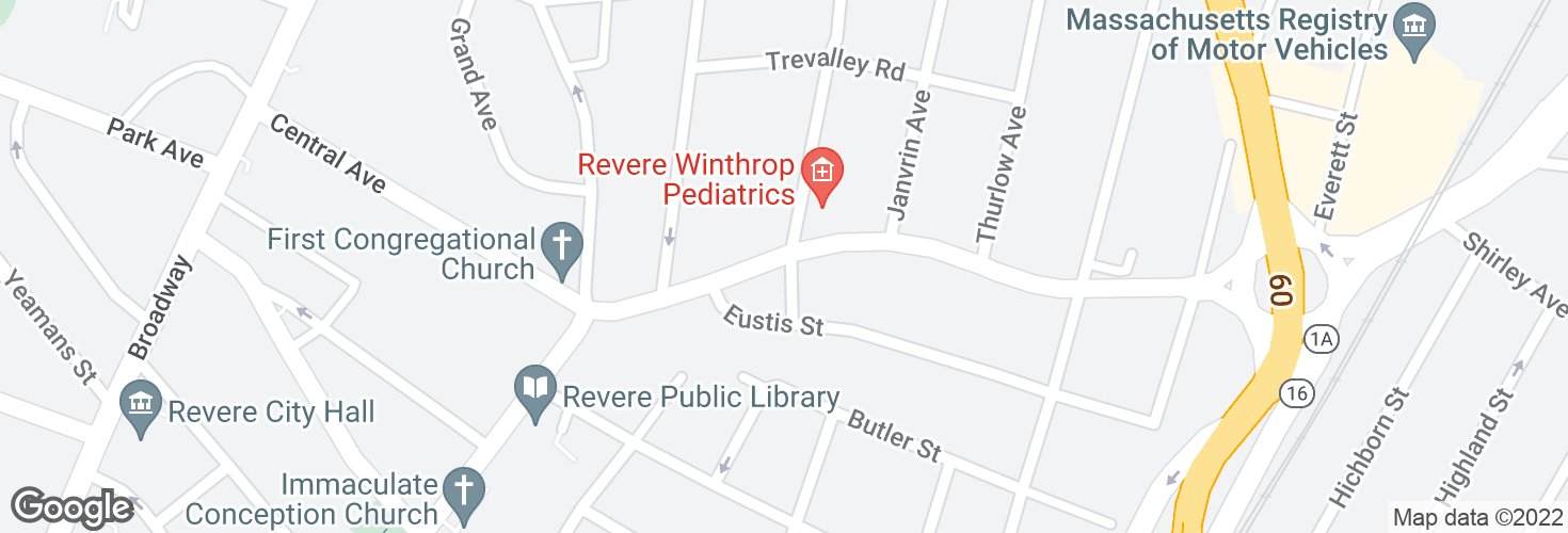 Map of Beach St @ Eustis St and surrounding area