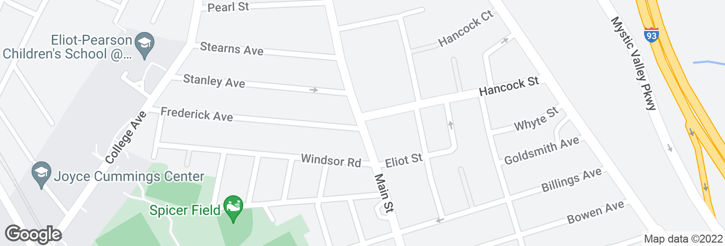 Map of Main St @ Hancock St and surrounding area