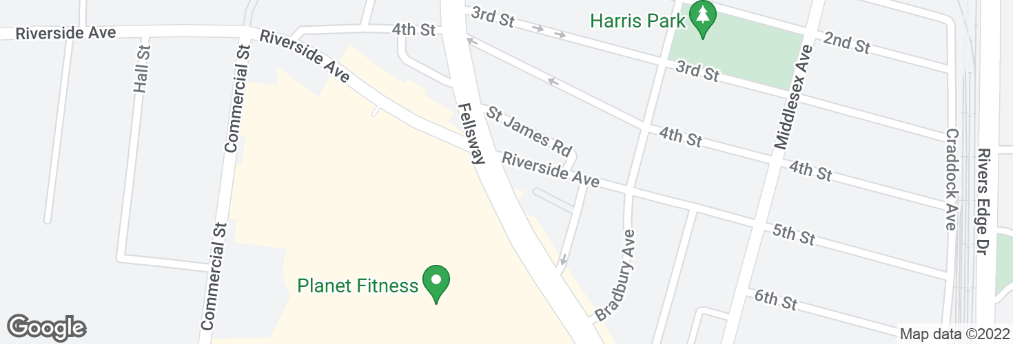 Map of Fellsway @ Riverside Ave and surrounding area