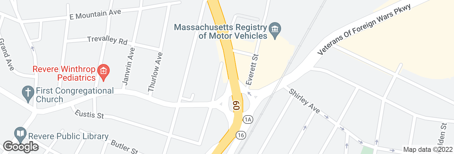 Map of American Legion Hwy @ Beach St - Bell Circle and surrounding area