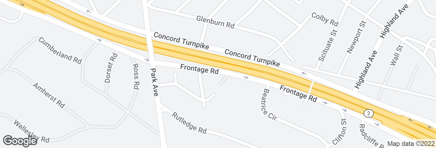 Map of East Service Rd @ Lamoine St and surrounding area