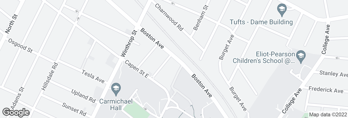 Map of Boston Ave @ Fairmount St and surrounding area