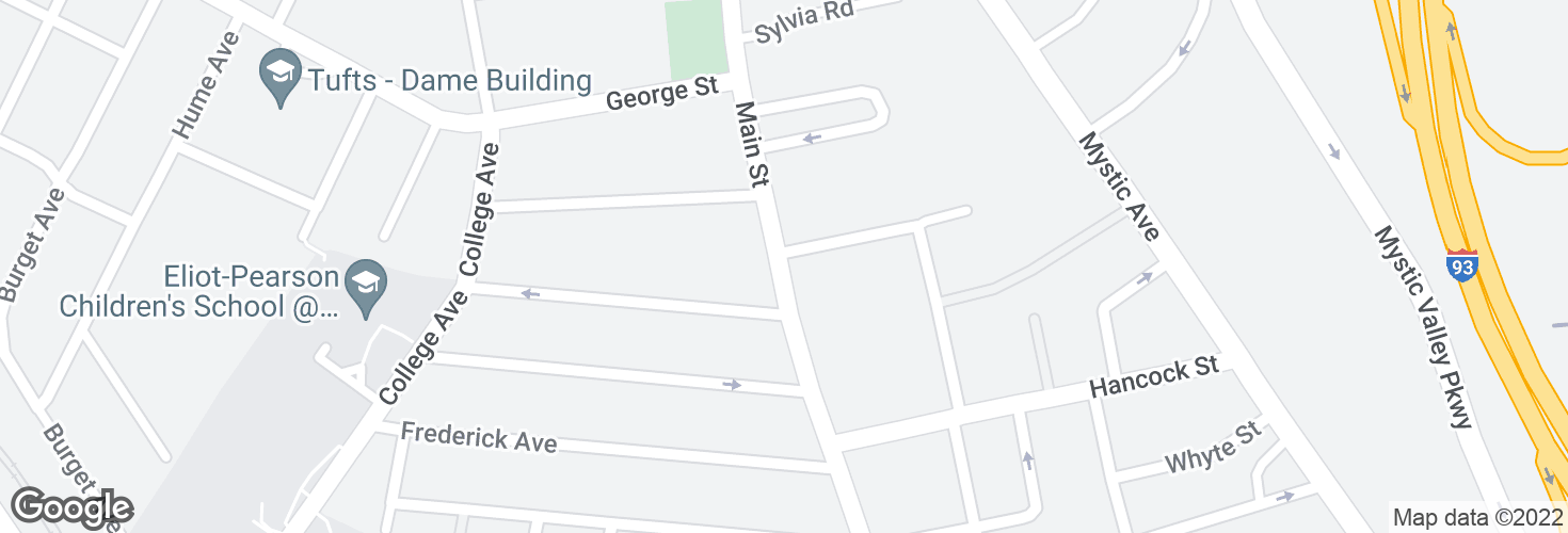Map of Main St @ Hancock Ave and surrounding area