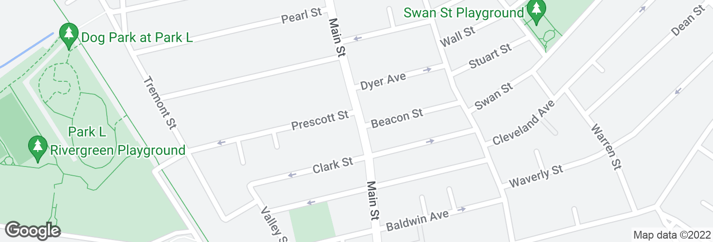 Map of Main St @ Prescott St and surrounding area