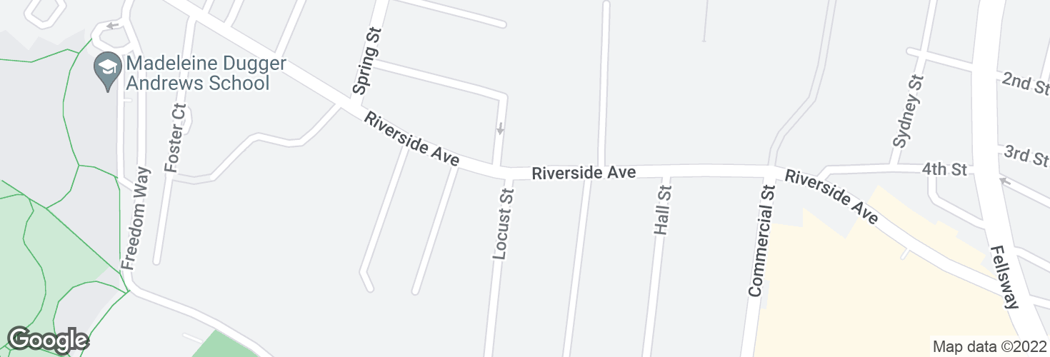 Map of Riverside Ave @ Locust St and surrounding area