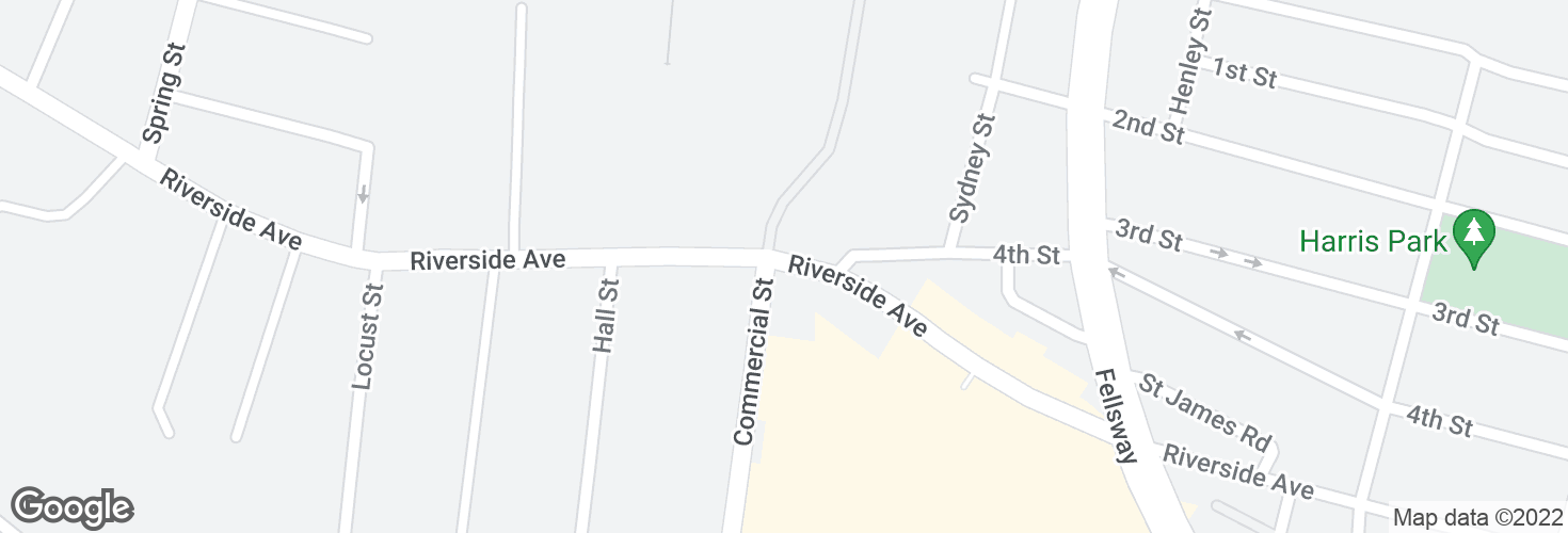 Map of Riverside Ave @ Commercial St and surrounding area