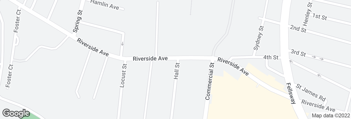 Map of Riverside Ave @ Hall St and surrounding area