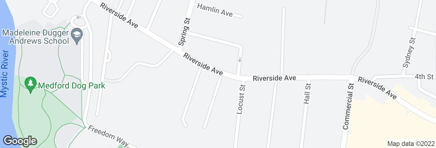 Map of Riverside Ave @ Rockwell Ave and surrounding area
