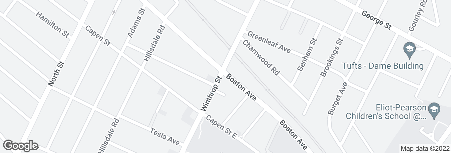 Map of Boston Ave @ Winthrop St and surrounding area