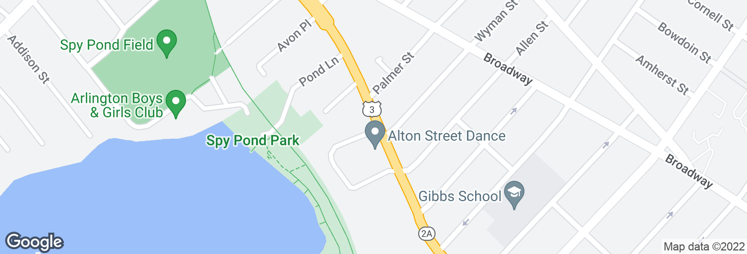 Map of Massachusetts Ave @ Wyman Terr and surrounding area