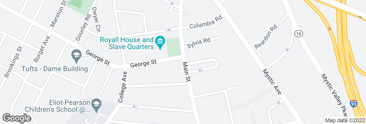 Map of Main St @ George St and surrounding area