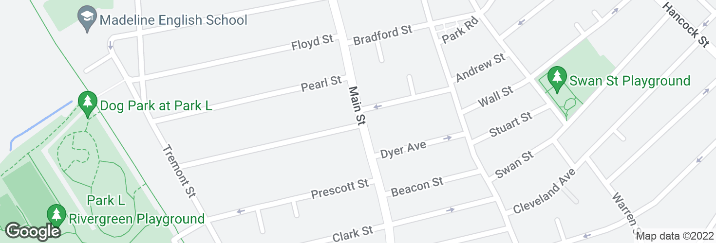 Map of Main St @ Everett St and surrounding area