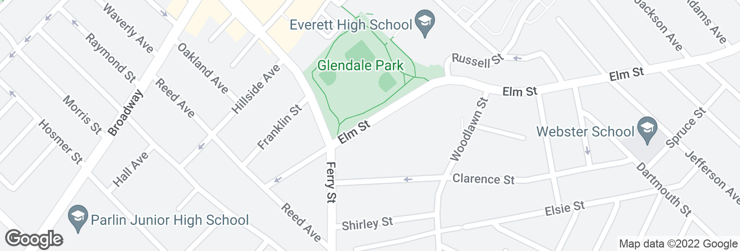 Map of Elm St @ Glendale Pk and surrounding area
