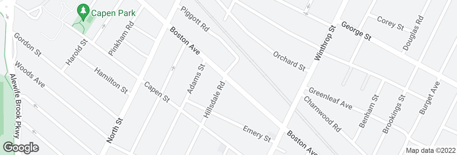 Map of Boston Ave @ Piggott Rd and surrounding area