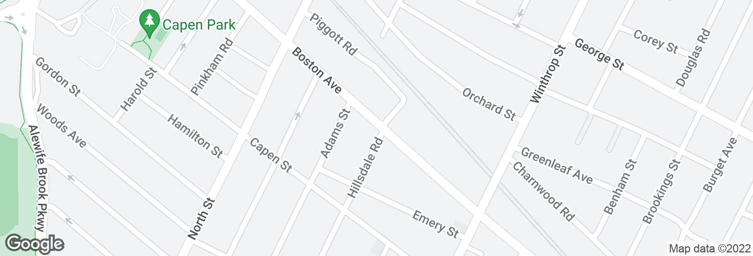 Map of Boston Ave @ Hillsdale Rd and surrounding area