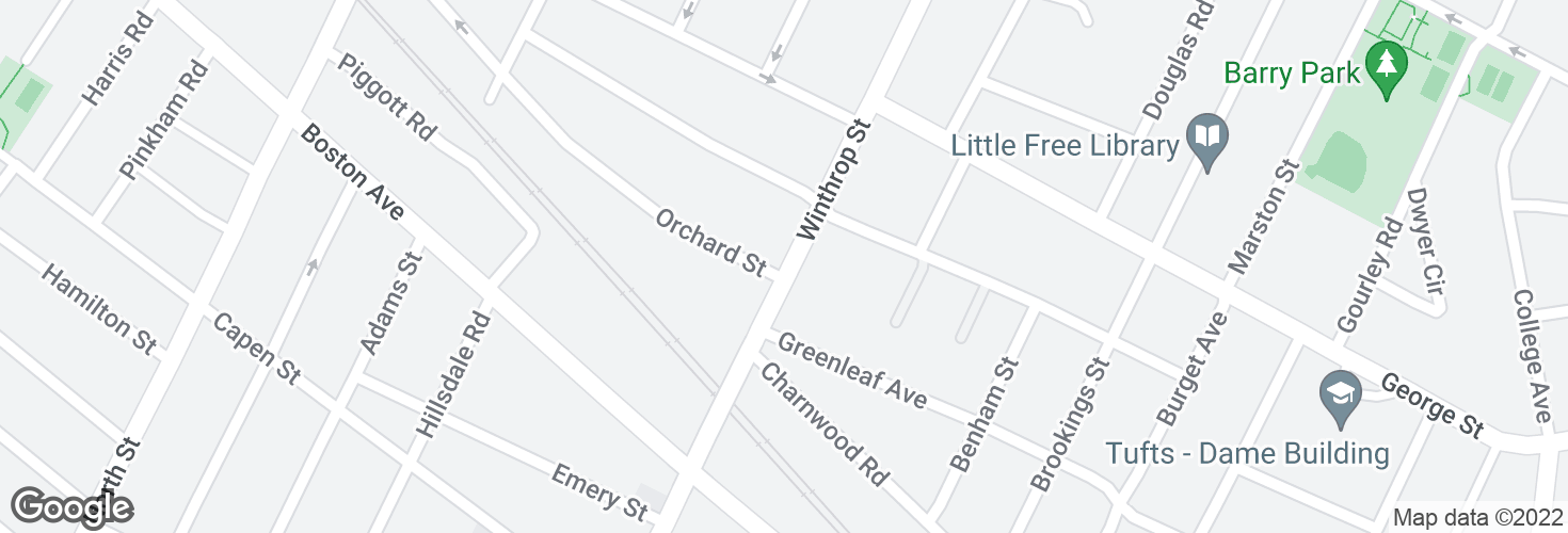 Map of Winthrop St @ Orchard St and surrounding area