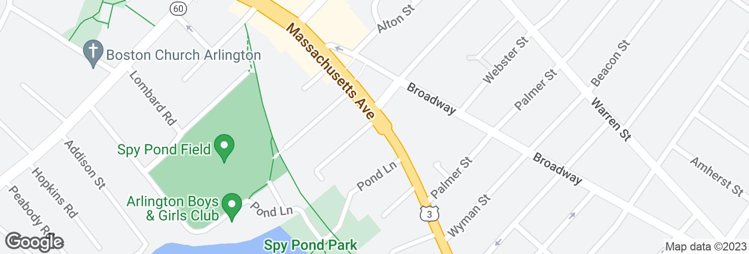 Map of Massachusetts Ave @ Avon Pl and surrounding area