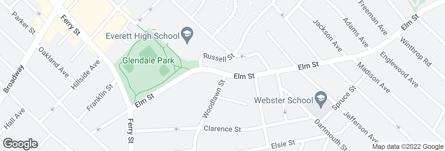 Map of Elm St @ Woodlawn St and surrounding area