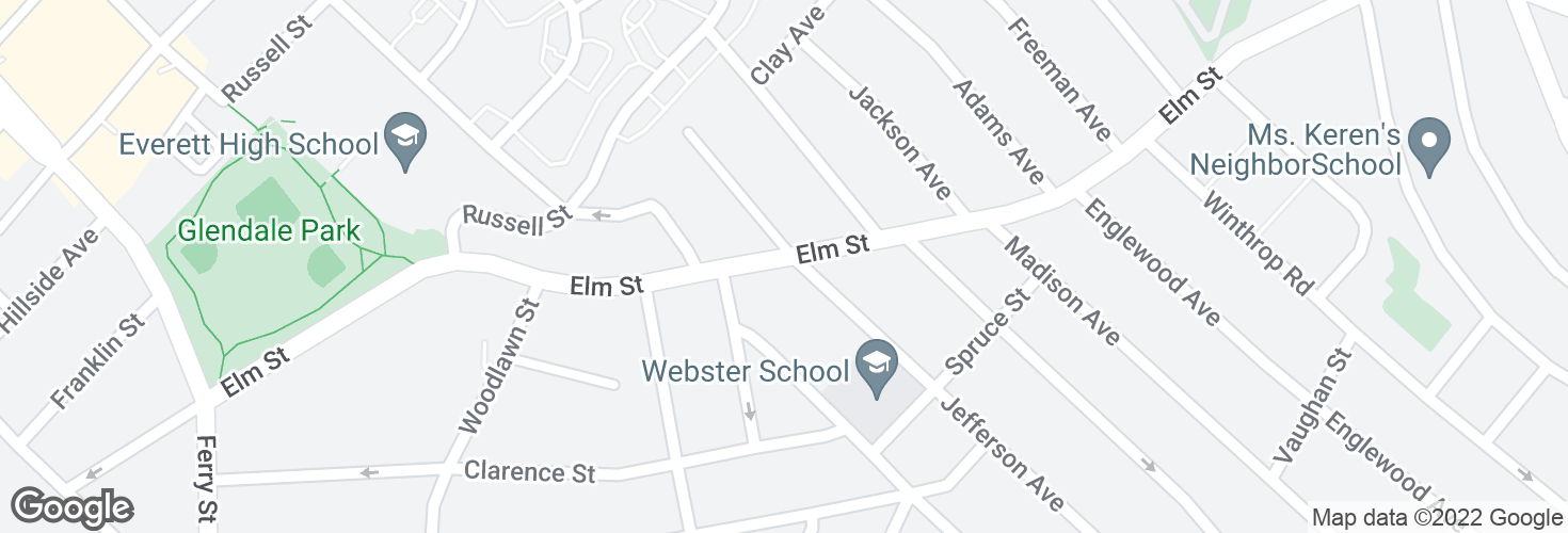 Map of Elm St @ Jefferson Ave and surrounding area