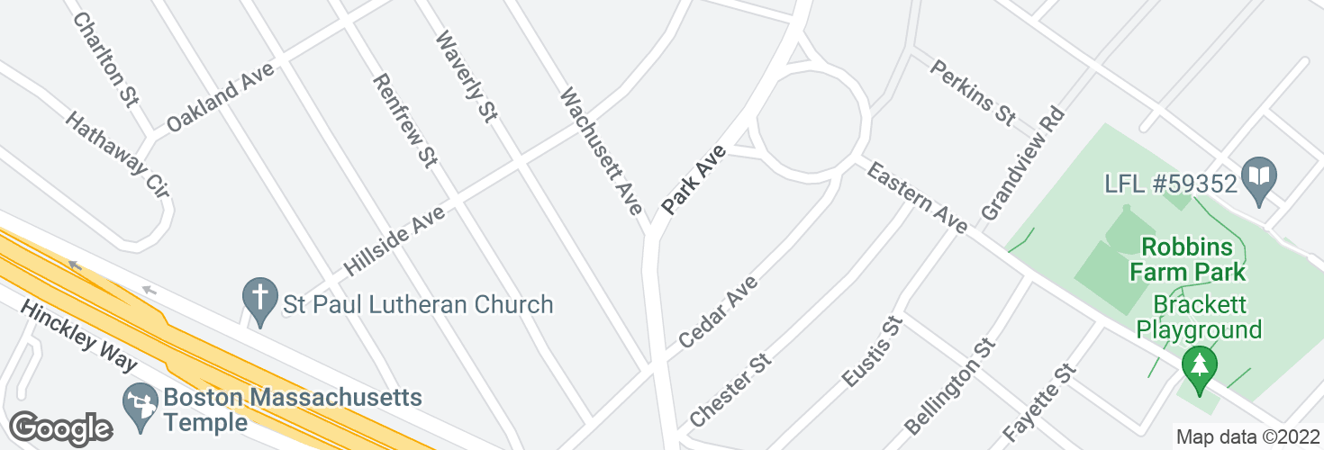 Map of Park Ave opp Wachusett Ave and surrounding area