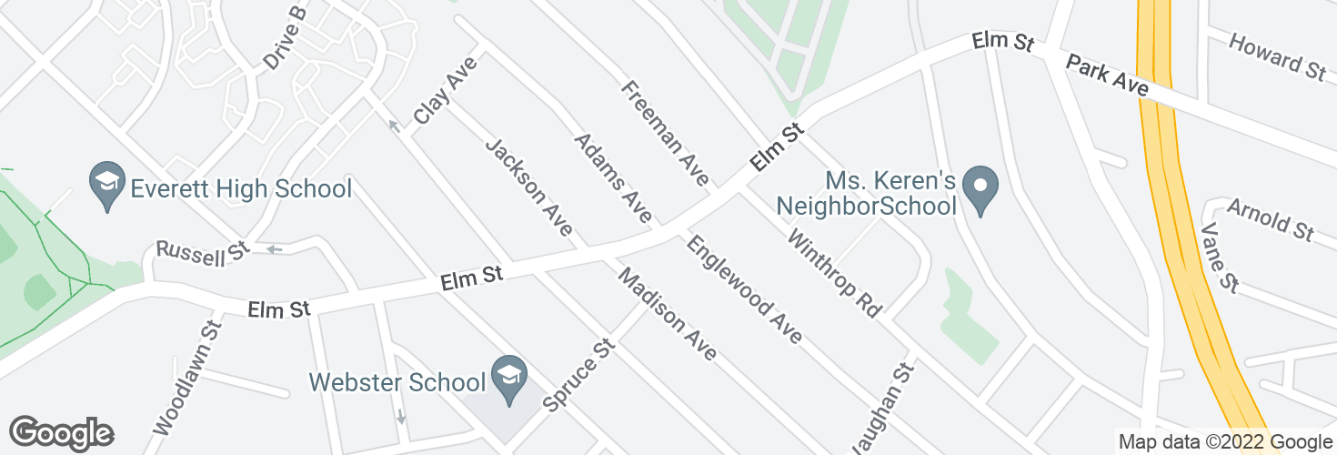 Map of Elm St @ Adams Ave and surrounding area