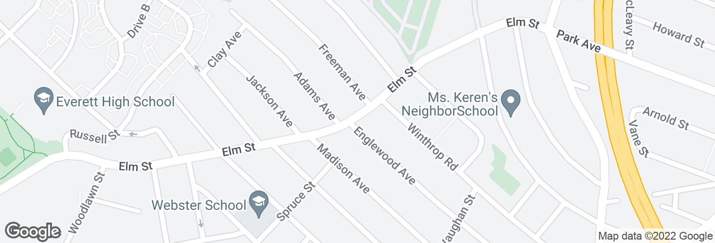 Map of Elm St @ Englewood Ave and surrounding area