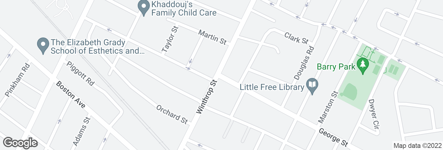 Map of George St @ Winthrop St and surrounding area