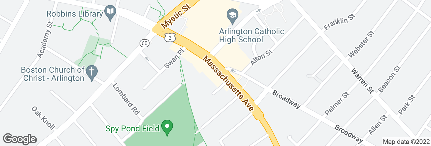 Map of Massachusetts Ave @ Broadway and surrounding area