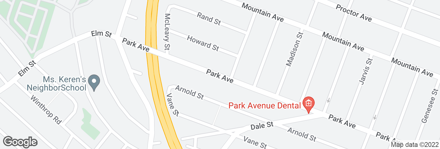 Map of 633 Park Ave and surrounding area