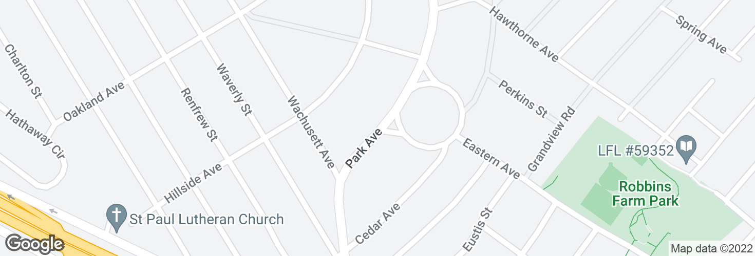 Map of Park Ave @ Park Circle and surrounding area