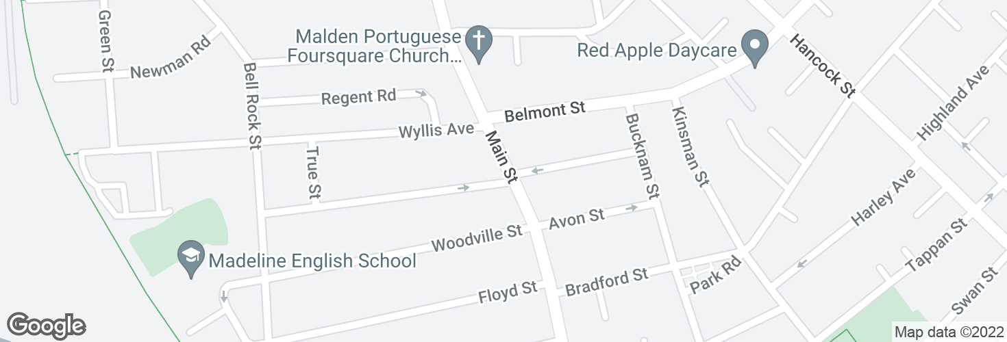 Map of Main St @ Peirce Ave and surrounding area