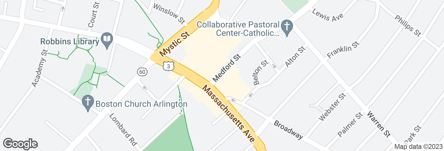 Map of Medford St @ Massachusetts Ave and surrounding area