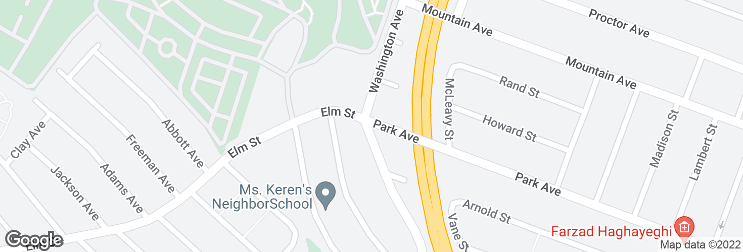 Map of Washington Ave @ Park Ave and surrounding area