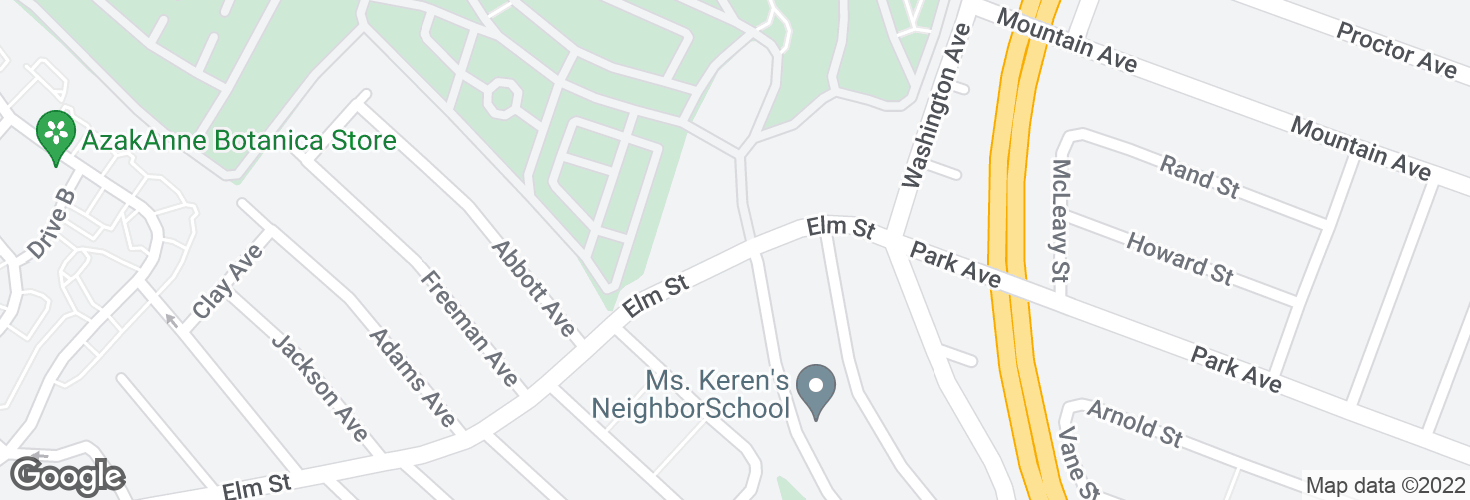 Map of Elm St @ Woodlawn Ave and surrounding area