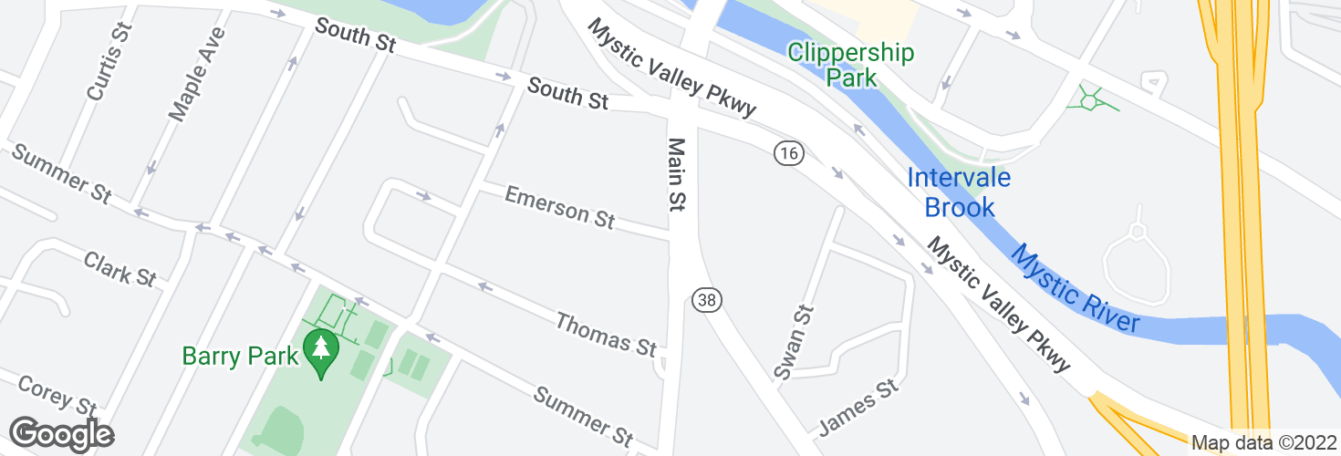 Map of Main St @ Emerson St and surrounding area