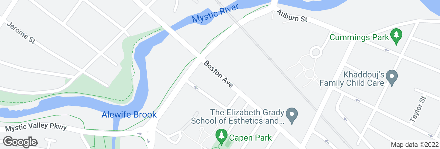 Map of Boston Ave @ Mystic Valley Pkwy and surrounding area