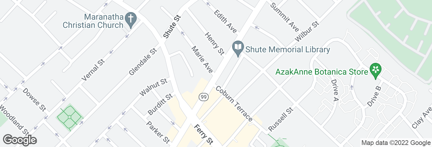 Map of Broadway @ Marie Ave and surrounding area