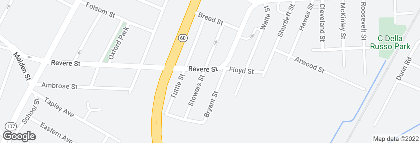 Map of Revere St @ Stowers St and surrounding area