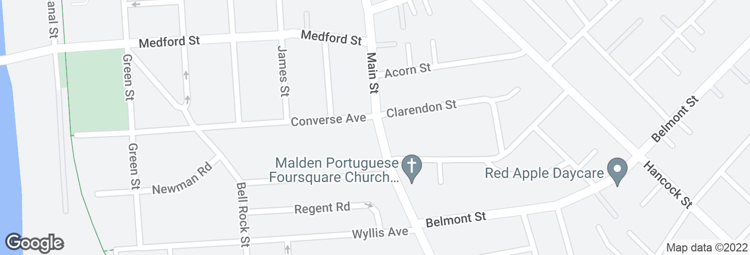 Map of Main St @ Converse Ave and surrounding area