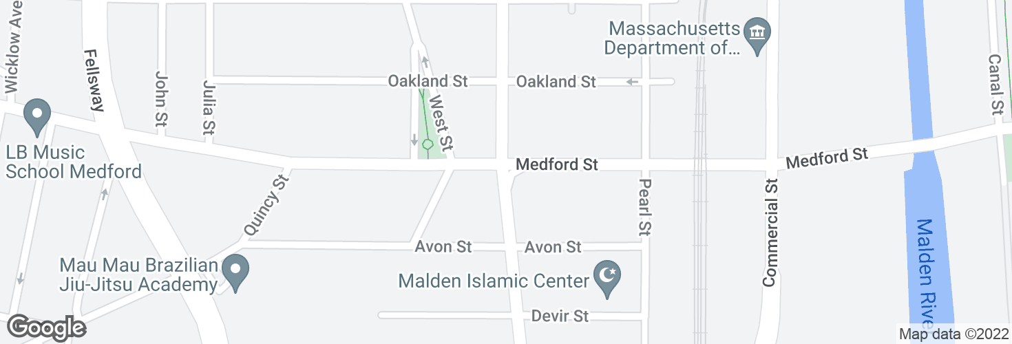 Map of Highland Ave @ Medford St and surrounding area