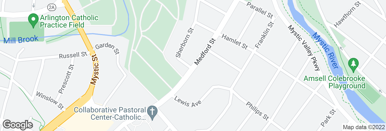 Map of Medford St @ Sherborn St and surrounding area