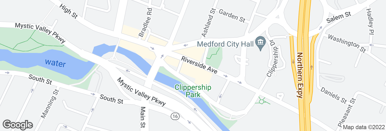 Map of 37 Riverside Ave @ Medford Sq and surrounding area