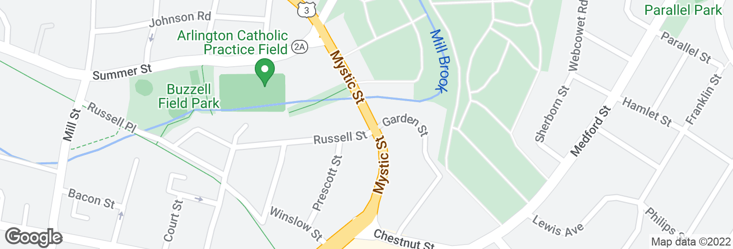Map of Mystic St @ Russell St and surrounding area