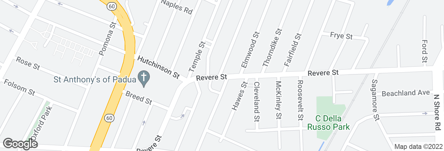 Map of Revere St @ Bates St and surrounding area